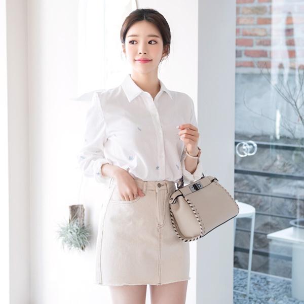 [ATTRANGS官方旗艦店]sk3267 捲捲不修邊縫線點綴棉質短裙