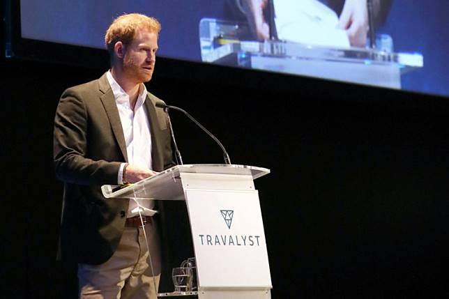 Britain's Prince Harry, Duke of Sussex, addresses a sustainable tourism summit at the Edinburgh International Conference Centre in Edinburgh on February 26, 2020. - Prince Harry was back in Britain on February 26 for the first of a final round of public appearances before he and his wife Meghan step back from their royal duties.