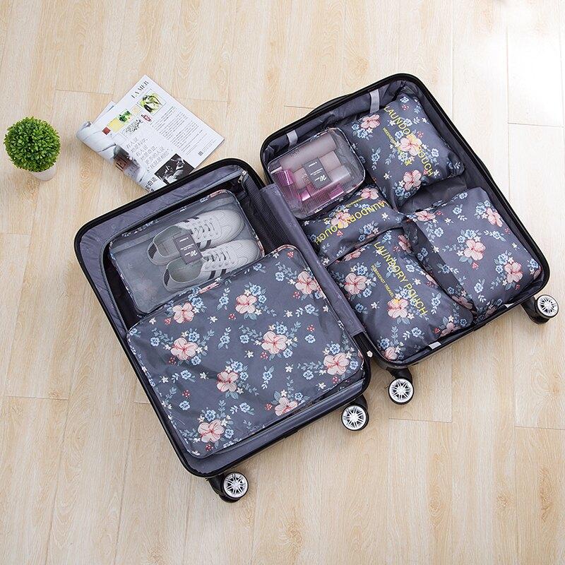 ●MY COLOR●印花旅行收納七件套 韓版 行李 打包 整理 旅行 登機 衣物 分類 拉鍊 網袋 【Z122】