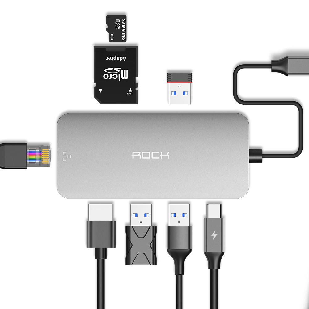 商品特色8種需求 一次滿足: HDMI |USB C |USB3.0 |RJ45 網路線|SD card|Micro SD cardPD接口 同步運行:具備標準USB Type-C介面的裝置提供電源,