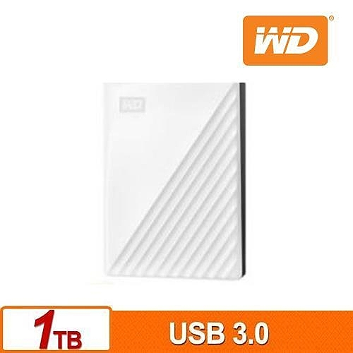 WD My Passport,2.5吋行動硬碟 ● 1TB,白色 ● USB 3.0(Super