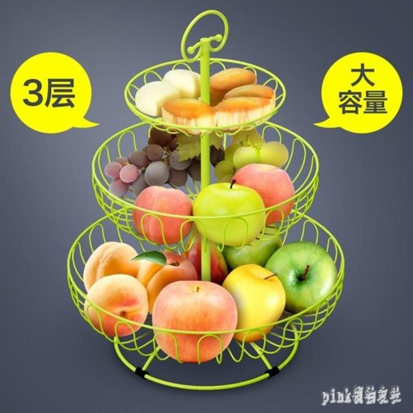 水果盤果籃創意家用多層歐式現代客廳茶幾簡約零食三層架多功能裝 qf25225【夢幻家居】
