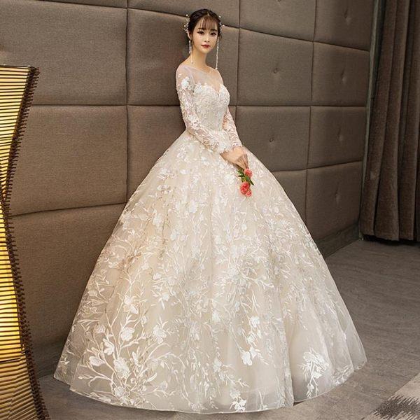 婚禮洋裝 婚紗禮服 新娘齊地公主夢幻歐美大碼顯瘦長袖輕婚紗森系女 BB奇趣屋