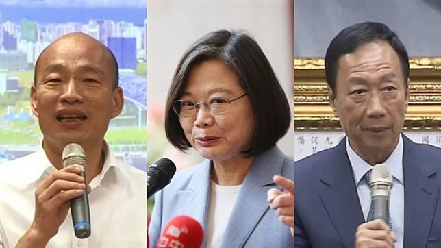 高雄市長韓國瑜、總統蔡英文、鴻海創辦人郭台銘。(由左至右)。圖/TVBS、中央社