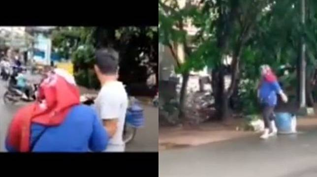 Video ibu-ibu teriak minta tolong usai ditegur gegara buang sampah sembarangan. (Instagram/@fakta.indo)