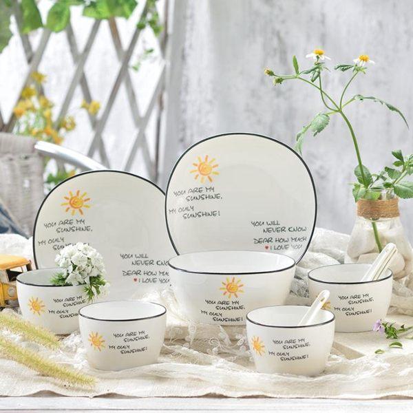 陶瓷餐具 陶瓷碗碟套裝家用碗盤餐具套裝韓式碗勺陶瓷碗具碗筷米飯碗菜盤子 莎瓦迪卡