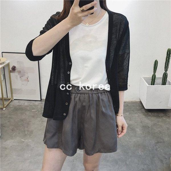 貝殼釦V領防曬針織外套 CC KOREA ~ Q22605