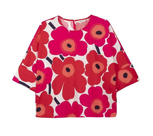 Marimekko紅色Unikko印花上衣(互聯網)