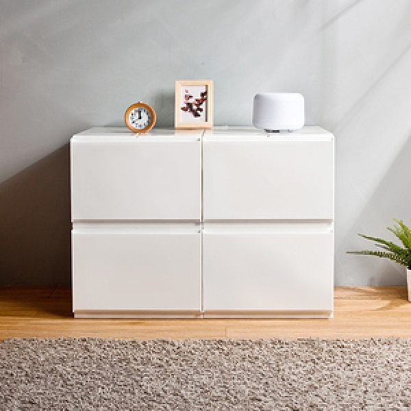 【HOUSE】4號大栗子純白無印風一層抽屜式收納箱-4入【台灣製造】4號大栗子(4入)