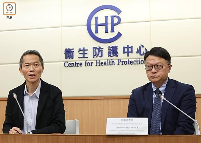 黃加慶(左)指,香港新增兩個懷疑感染新型冠狀病毒個案。(袁志豪攝)