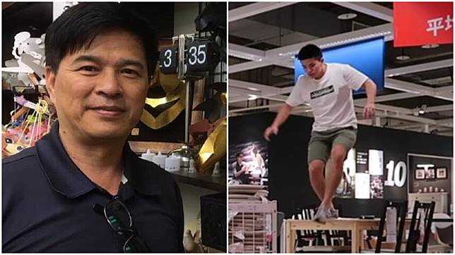 李興文(左)的兒子李堉睿(右)日前大鬧IKEA,引發風波。圖/翻攝臉書、Youtube