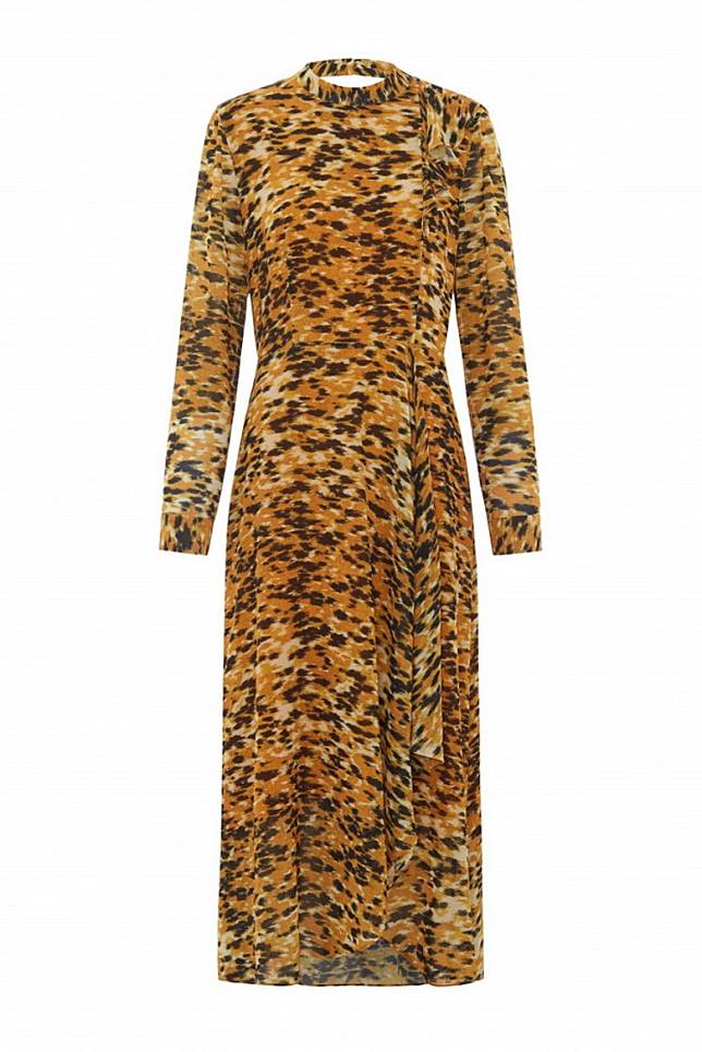 Whistles土黃色豹紋連身裙 (互聯網)