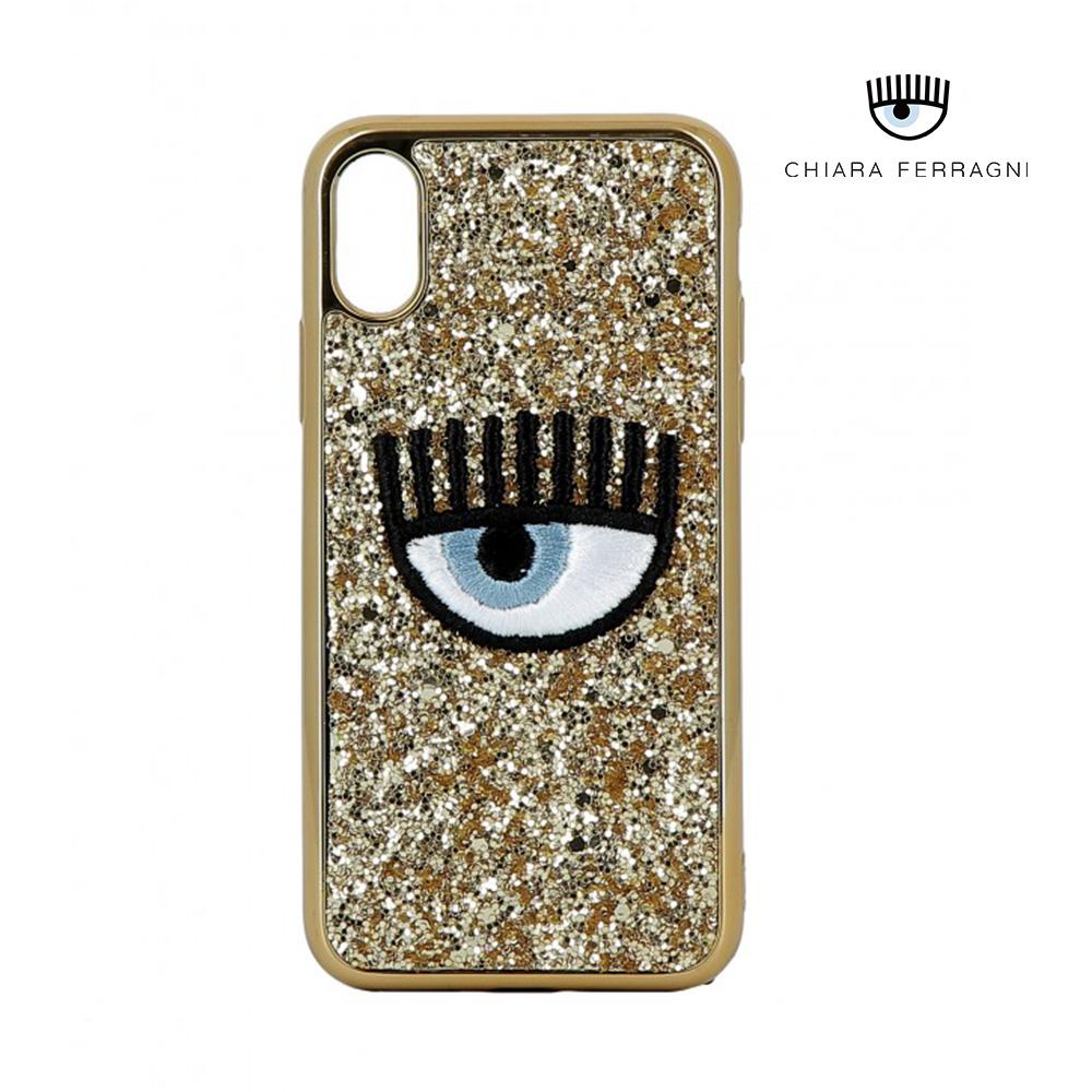 """帶有粉紅色閃光標誌的chiara ferragni簽名的eye logomania護殼可以完美貼合您的iphone x / xs,使其既時尚又有光澤,同時可以保護它。帶有標誌性刺繡的""""眼睛""""logo"""