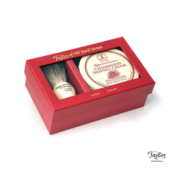 Taylor of Old Bond Street Pure Badger & Cedarwood Gift Box雪松禮盒 精美盒裝收納刮鬍膏及獾毛鬍刷 送禮自用皆適合 雪松(Cedarwood)刮