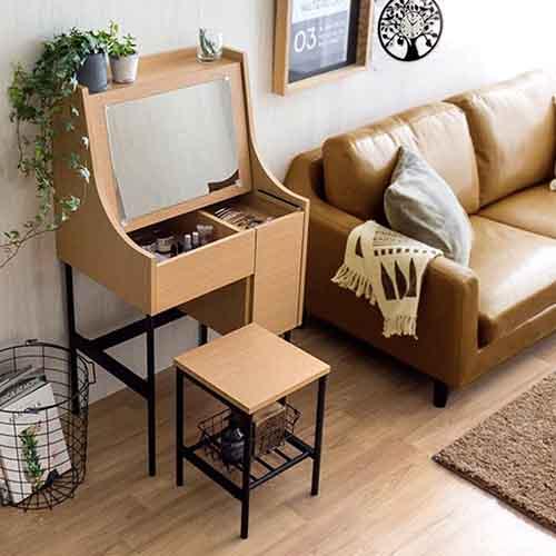 《C&B》黛莉工業風兩用書桌化妝桌椅組-淺木紋