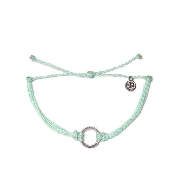 PuraVida美國手工SILVER CIRCLE SEAFOAM 嫩綠色臘線 銀單圈 手環
