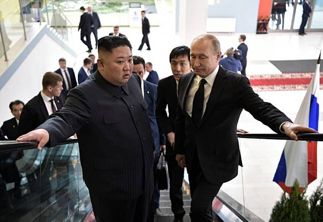 Russian President Vladimir Putin meets with North Korean leader Kim Jong Un at the Far Eastern Federal University campus on Russky island in the far-eastern Russian port of Vladivostok on April 25, 2019.