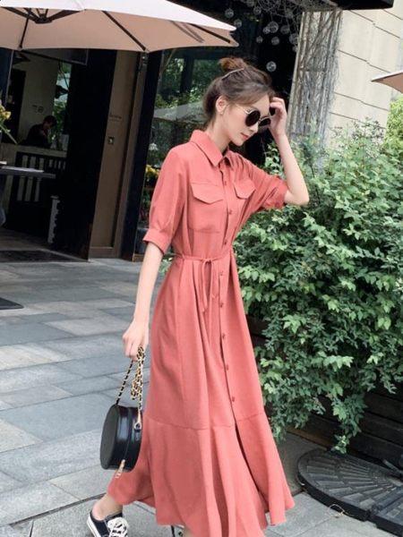 襯衫連身裙2019新款夏天流行襯衣裙子女法國小眾桔梗復古山本過膝