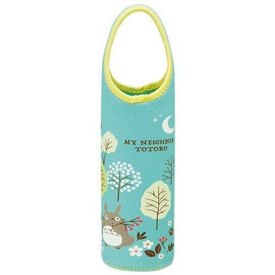 〔小禮堂〕宮崎駿Totoro龍貓 潛水布水壺袋《綠黃.森林》杯套.水瓶袋 4973307-45003