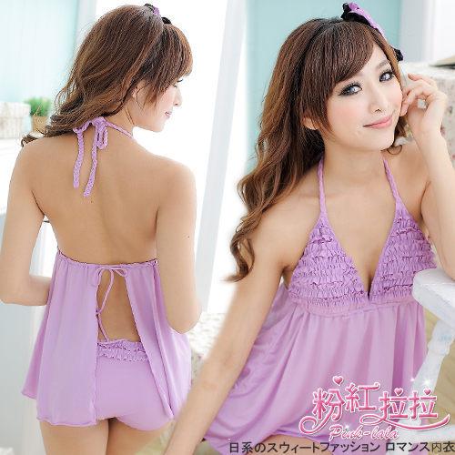 *╮粉紅拉拉【PGW04】純色性感→豐胸荷葉蛋糕,性感露背洋裝小可愛,兩件式泳裝。紫色