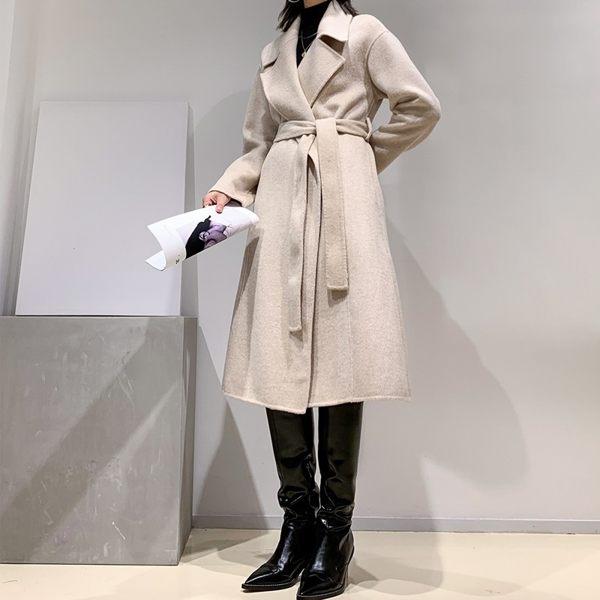毛呢大衣 羊毛外套-長版純色翻領寬鬆女外套2色[巴黎精品]