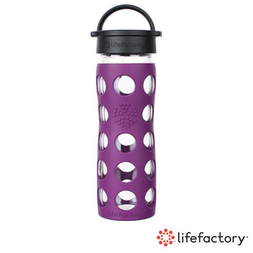 【Lifefactory】玻璃水瓶平口475ml-紫色