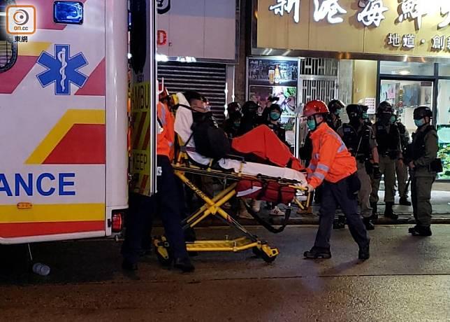 大南街有男子受傷送院。(朱先儒攝)