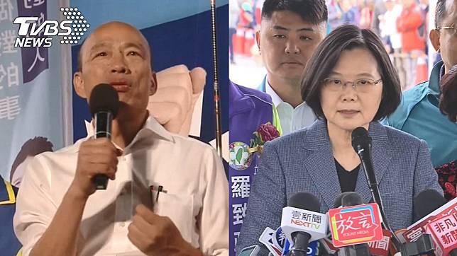 (高雄市長韓國瑜(左)、總統蔡英文(右)。圖/TVBS資料畫面)