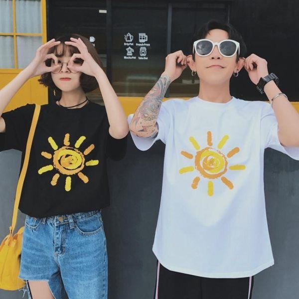情侶T恤 情侶裝夏裝體恤定制班服短袖太陽T恤男女大碼半袖 買一送一