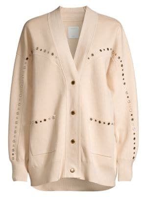 Studs lend a Wild West aesthetic to this oversized boho cardigan.; V-neck; Long drop shoulder sleeve