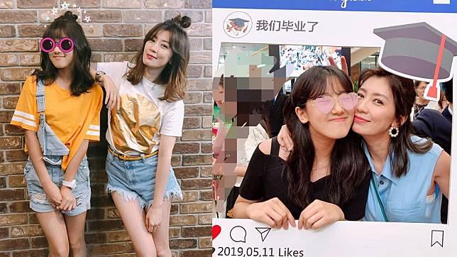 44歲女星賈靜雯和大女兒「梧桐妹」Angel。圖/翻攝自賈靜雯臉書