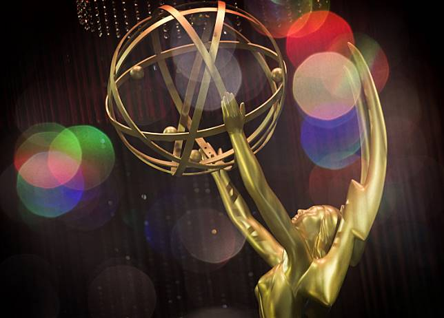 This double exposure shows the Emmy Awards statue during the 71st Emmy Awards Governors Ball press preview in Los Angeles, California on Sept. 12, 2019. Television's glitzy big night out is upon us -- the 71st Emmy Awards kick off Sunday evening in Los Angeles.