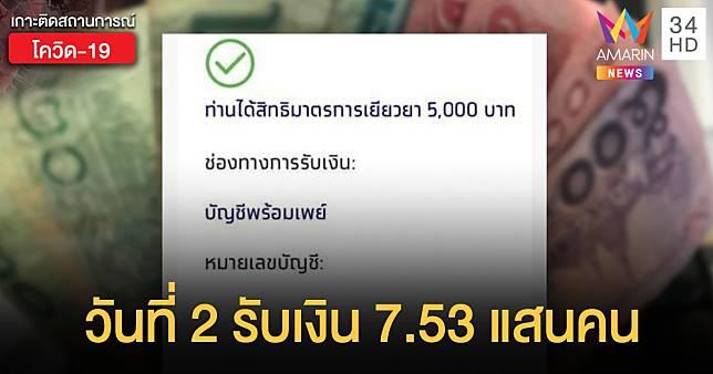 รอรับเงินต่อวันที่ 2 ! เราไม่ทิ้งกัน โอนเยียวยา 5,000 บาท 753,000 คน