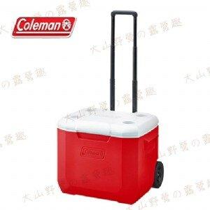 【露營趣】Coleman CM-27864 56L 美利紅拖輪冰箱 冰桶 保冷冰箱 行動冰箱 3日鮮