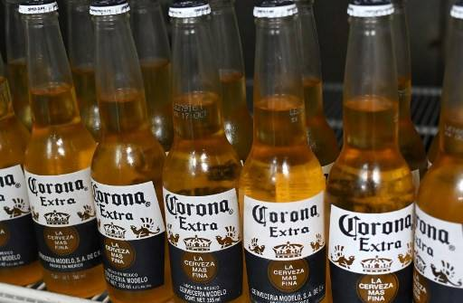 Picture of bottles of Mexican beer Corona, taken in Mexico City on June 4, 2019.