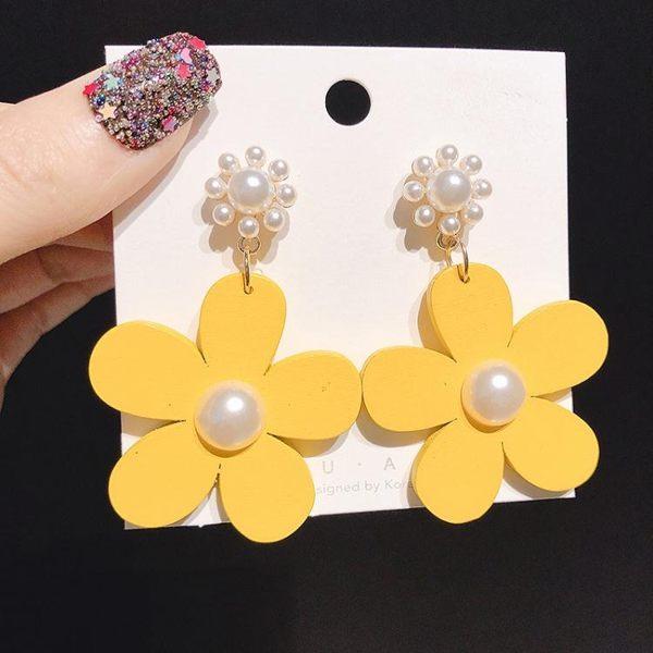 黃色花朵耳環花瓣耳釘女氣質韓個性2019新款夸張小眾耳飾品 韓流時裳