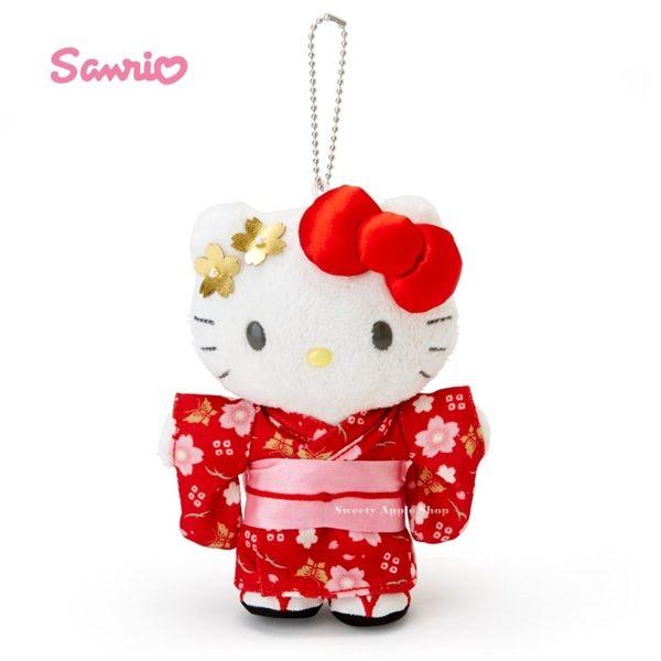 日本限定 三麗鷗 HELLO KITTY 凱蒂貓 櫻花和服 珠鍊吊飾 玩偶娃娃