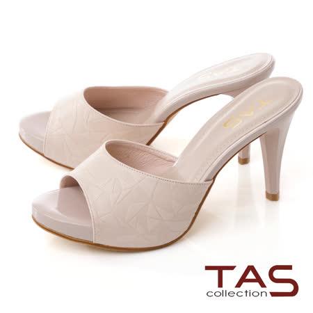 嚴選質感壓紋羊皮剪裁包覆涼拖鞋10 cm超高跟商品貨號:010671