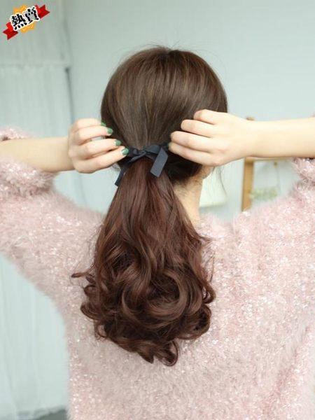 假髮 馬尾逼真綁帶式女生 梨花長卷髮大波浪接髮片仿真髮低馬尾辮