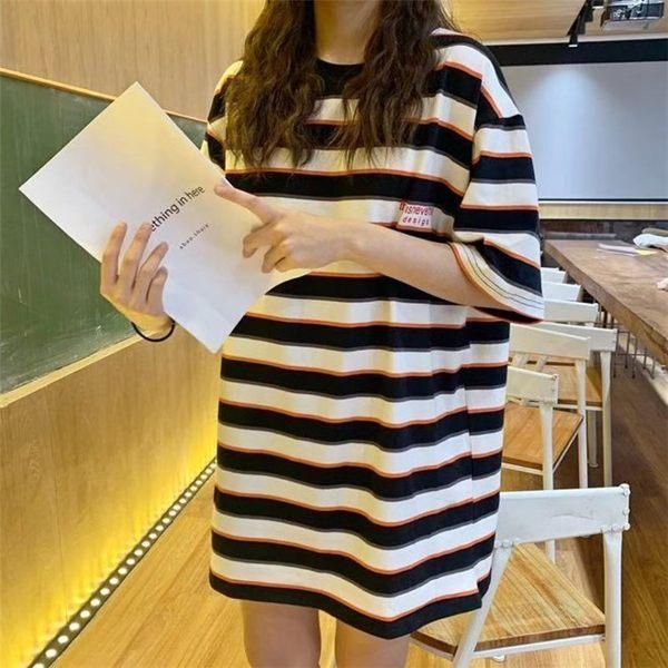 FINDSENSE G6 韓國時尚潮流 2019夏季新夏裝寬鬆撞色橫條紋短袖圓領