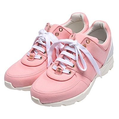 ★品牌經典雙C LOGO★以紮實的帆布與牛皮製作★甜美的粉紅色打造休閒運動鞋=
