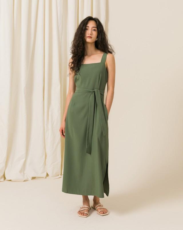 MEIERQ+側開衩綁帶洋裝