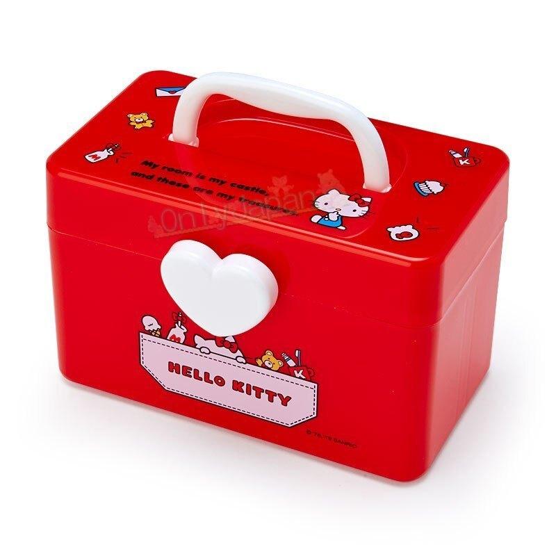 【真愛日本】4901610473474 手提置物箱S-KT日常紅AAFE 凱蒂貓kitty 手提箱 收納箱 置物箱 化妝箱 分格 針線收納 手工藝