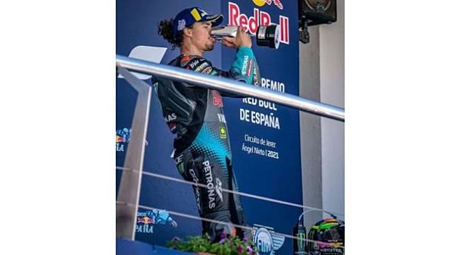Franco Morbidelli saat raih podium 3 di MotoGP Spanyol 2021 (Instagram)