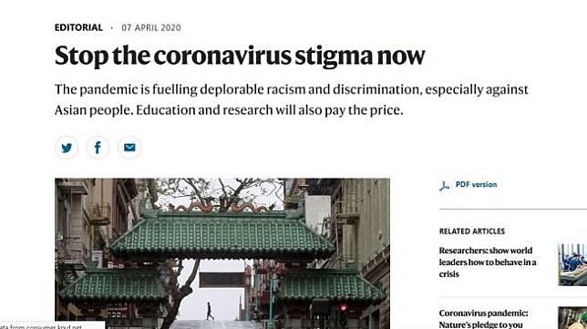 Nature, sebuah jurnal ilmiah terkemuka asal Inggris, minta maaf karena telah mengaitkan Covid-19 dengan Wuhan dan China. [Screengrab Nature]