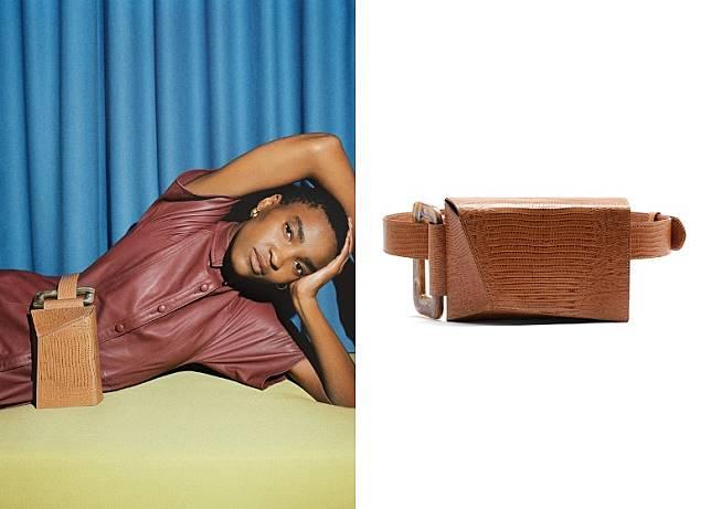 Tan Croc Leather Belt Bag(互聯網)