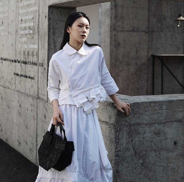新日系美學娃娃領七分袖短版襯衫外套/設計家
