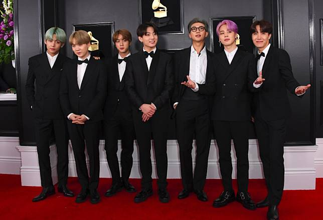 Boy band BTS arrive for the 61st Annual Grammy Awards on February 10 in Los Angeles.