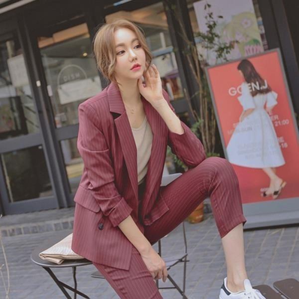 休閒西裝套裝女英倫風2019新款時尚氣質條紋小西服外套韓國兩件套第七公社