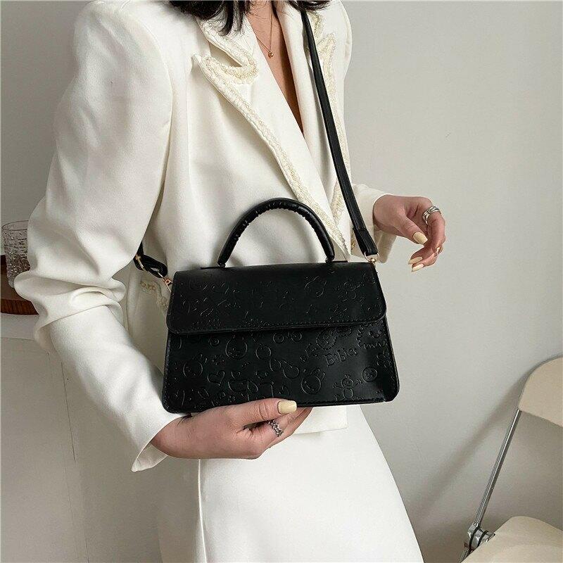 復古包包女2021春季時尚洋氣純色單肩包壓花簡約手提斜挎包小方包